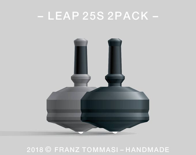 LEAP 25S 2PACK Gray-Black – Value-priced set of precision handmade polymer spin tops with ceramic tip and rubber grip