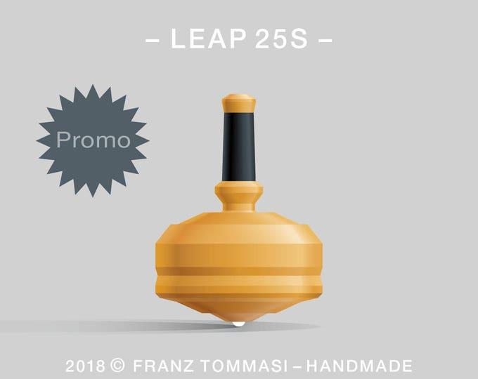 LEAP 25S Yellow – Precision handmade polymer spin top with ceramic tip and rubber grip