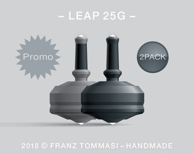 Leap 25G-2Pack (Gray-Black) – Value-priced set of spin tops with dual ceramic tip and rubber grip