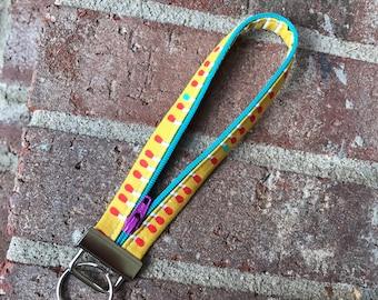 Zipper Key Fob, Key Fob, Wristlet Keychain, yellow, green, Keychain, Fobio Key Fob, Wristlet Key Fob