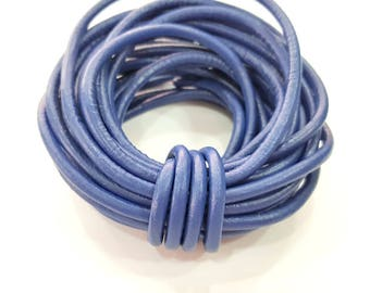 Leather Blue Cord 1mt-3.3 ft (4mm) Round Leather Lacing G7927
