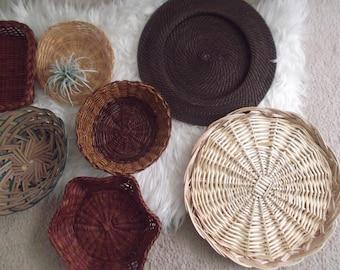 Modern Boho Wall Baskets Set of 7 Bohemian Decor