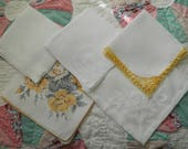 5 Vintage Hankies Good Vintage Condition Lot 2805