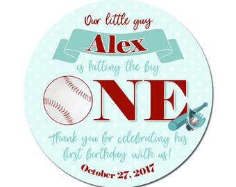 Custom Baseball Birthday Labels Personalized Round Glossy Favor Stickers For Birthdays or Any Occasion