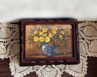 Vintage Jewelry Box, Antique Wood Box, 1940s Dresser Box, Yellow Flowers Art, Glass Top, Carved Wood, Bedroom Vanity Box, Trinket Storage