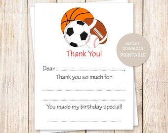 YOU PRINT printable all star thank you cards . kids birthday fill in blank . sports baseball football basketball soccer . Instant Download