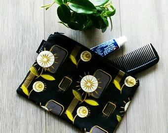 Large Mid Century Modern Dandelion Bag - Floral Print Pouch -  Make Up Bag - Gadget Zipper Bag