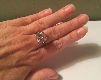 """Pink Square Stone """"BLING"""" Ring -7.5-October Birthstone"""