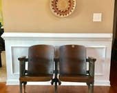 Industrial Chairs. Theater Chairs. Movie Seats. Entryway Furniture. Wood Iron Wooden Folding Cinema Seats Decor Rustic Modern Bench Retro