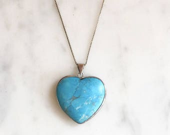 Vintage 70s Sterling Turquoise Heart Pendant Necklace