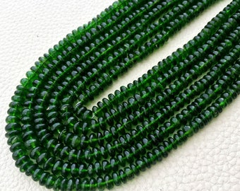 8 Inch,Gorgeous Quality, Natural CHROME DIOPSIDE Smooth Roundels, 4-5mm,Best Price,Superb Item