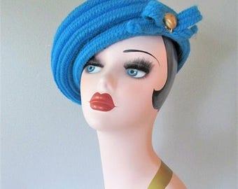 50% OFF SALE Fabulous Vintage 1960's Bright Blue Beret Hat / Ladies Retro Knit Everitt Tilt Hat