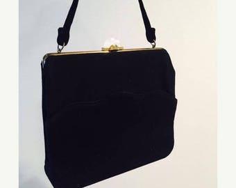 50% OFF SALE Vintage 1950's Soft Black Retro Handbag Purse