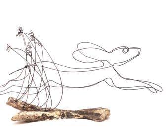 Rabbit Wire Sculpture, Hare Wire Sculpture, Bunny Art, 553821376