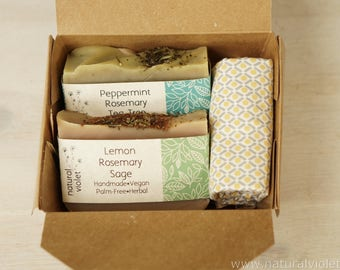 Soap Gift Set, Lemon Mint, Vegan Soap, Natural Bath, Handmade Soap, Palm Free Soap, Organic Bar Soap, Herbal Body Care, Bath and Body Care