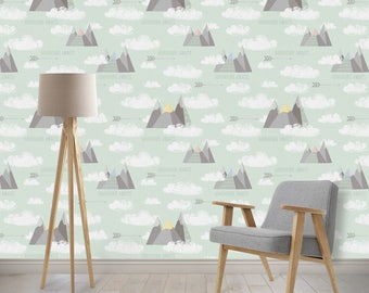 Removable Wallpaper -Mountains, Clouds, Adventure Nursery Wallpaper, Mint, Explorer, Repositionable, Removable, Woven Wallpaper,
