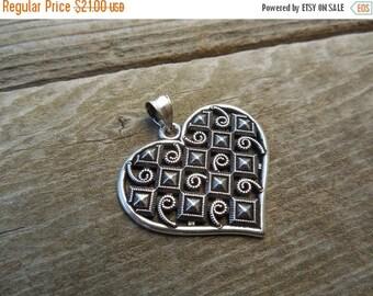 ON SALE Heart pendant in sterling silver