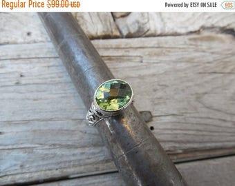 ON SALE Green amethyst ring handmade in sterling silver