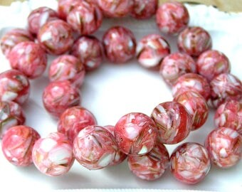 Pink Mosaic Shell Beads, 15mm, 34 ct.