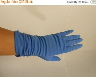 Anniversary Sale 35% Off Feeling Blue in Gloversville - Vintage 1950s Meyer's Make Cornflower Blue Nylon Ruched Gloves - 7.5