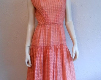 Anniversary Sale 35% Off Happy Day of Summer Shopping - Vintage 1950s Sheer Seersucker Dress Mango Orange Checkered - 4/6