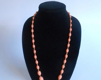 Anniversary Sale 35% Off Helen St-Clair Takes the Stage - Vintage 1930s Peach Orange Celluloid Beaded Strand Necklace