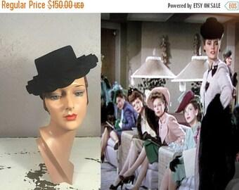 Anniversary Sale 35% Off LineUp of Show Girls - Vintage WW2 1940s Black Wool Felt Ruffle Doll Hat Topper Tilt Hat