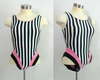 1980s Exercise Leotard Tank Bodysuit // Jane Fonda Barbie Doll // Black White Pink Striped