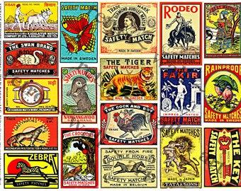 Safety Matchbox Art - Digital Collage Tags, Matchbook Clip Art, Match Box Covers, Matchbook Cover Art, Wood Match Box, Matchbook Label, 148a