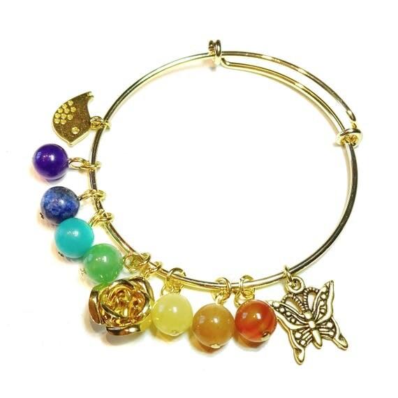 Expandable Chakra Charm Bracelet w Semi-precious Gemstones - Gold Plated