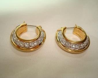 Early 90's Swarovski Crystal Golden Hoop Earrings.