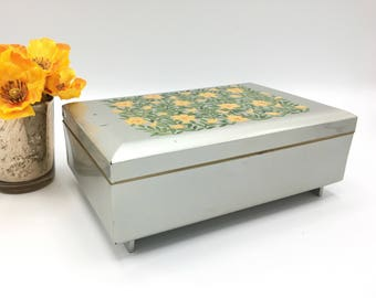 Vintage Otagiri Musical Jewelry Box, Gray Lacquer with Yellow Flowers, Jewelry Storage