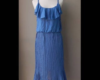 ON SALE Blue Chiffon Pleated Dress Bust 34 Waist 26 - 30 With Defects