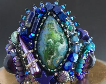 Blue Planet - Size S/M Large Chunky Mystical Bracelet, Bead Embroidered, Stars, Planet, Glass Beads, Swarovski, Agate, Lapis, Leather