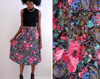 SALE!!!!!!!!! Floral/paisley print knit midi skirt with wide elastic waistband 1990s 90s VINTAGE