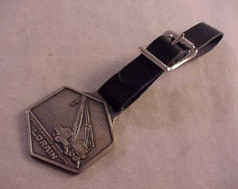 Lorain Heavy Equipment Advertising Watch Fob With Black Leather Strap