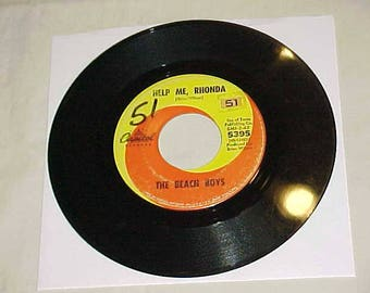 The Beach Boys - 45 Vinyl Record - Help Me Rhonda / Kiss Me Baby