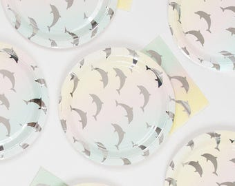 Dolphin Paper Party Collection Plates-Cups-Napkins-Straws-Balloons