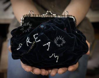 Qara, Sashiko black velvet fiber art clutch purse
