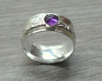 Silver amethyst ring anxiety jewelry kinetic ring silver spinning ring sterling silver ring fidget spinner ring