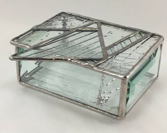 Clear Texture Triangle design Abstract Stained Glass Jewelry Trinket Box