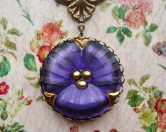 Pansy Necklace - Glass Necklace - Romantic Necklace - Flower Jewelry - Victorian Jewelry - Mothers Day Jewelry - Purple Jewelry - Pansies