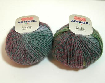 Mistero Trends Adriafil Wool Blend Yarn For Knitting and Crochet, Variegated Rose and Green, 2 Skeins, 50g, 90m