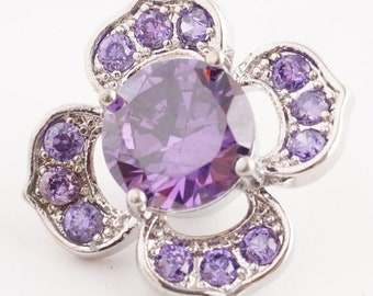 Purple snap, Flower snap charm for 18-20 mm snap jewelry including Ginger Snaps Jewelry. Silver plate zircon snap charm. Gift for Mom is