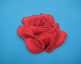 Iron-On embroidered Patch Red Rose 3 inch