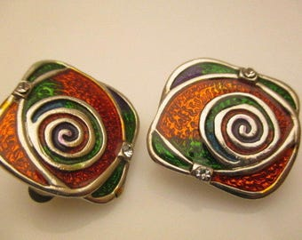 Earrings Clip Vintage Multicolored Cocktail Brass Wonderful