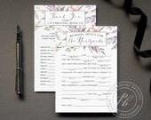 Ultraviolet Wedding Mad Lib Guestbook Alternative, Purple Wedding advice card PDF download, Bride wedding madlib Violet wedding comment card
