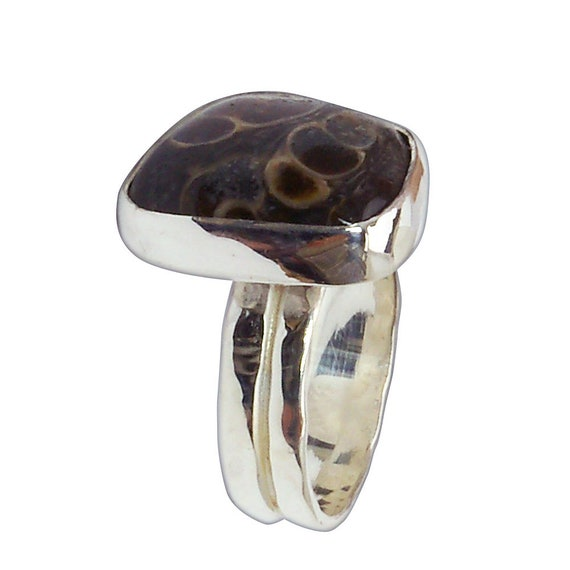Turritella Fossil Agate Ring Set in Sterling Silver, Size 6-3/8  r638trtf2962