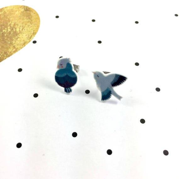Small, blue, bird, earrings, light, hypoallergenic, plastic, stainless stud, handmade, les perles rares