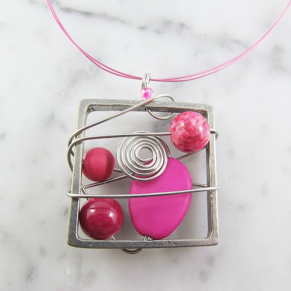 Square metal stainless necklace, pink, silver, pewter and stainless steel tiger tails, les perles rares